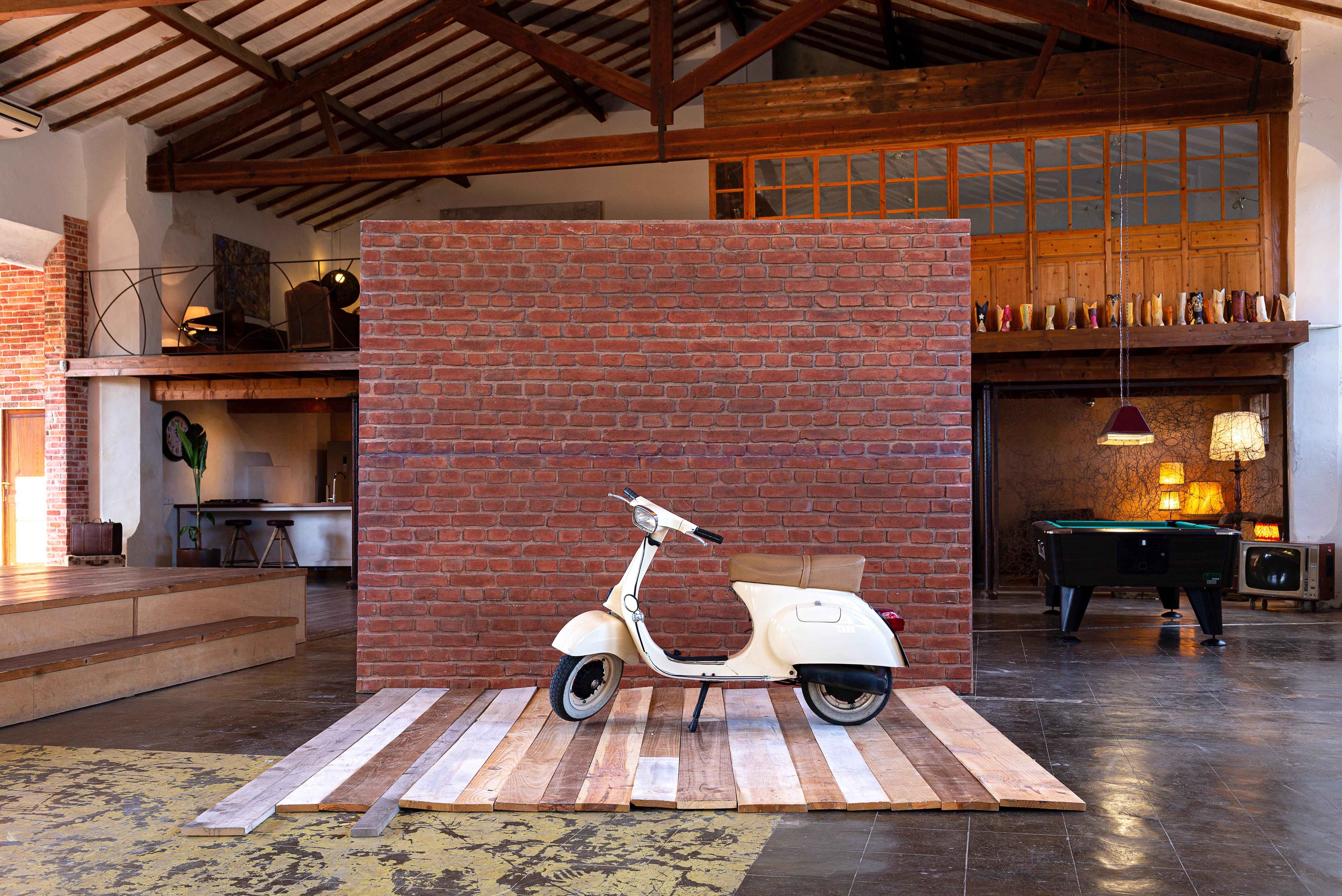Red Brick Wall & Floor Boards